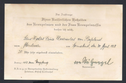 Invitation to Grand Duchess Kira Crown Prince Louis Hohenzollern Wedding - 1938